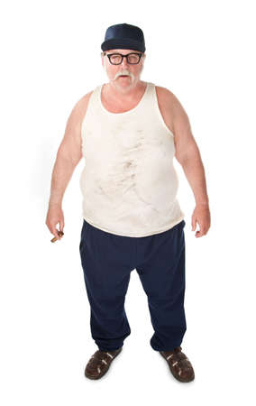 sandal: Obese man in tee shirt on white background