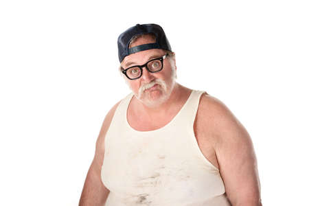 Fat man in tee shirt on white background photo