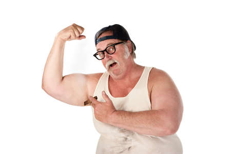 arm of a man: Obese man in tee shirt on white background