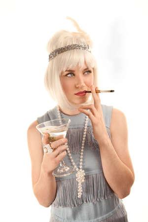 Pretty woman in vinatge 1920s flapper dress