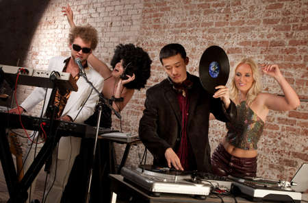 Jammin at a 1970s Disco Music Party Stock Photo - 6876080
