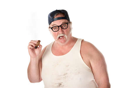 Large man in shock wearing a tee shirt with cigar