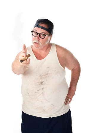 wife beater: Obese man in tee shirt on white background
