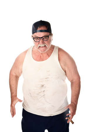 hillbilly: Obese man in tee shirt on white background
