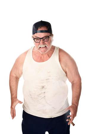 Uomo obeso nel tee shirt su sfondo bianco Archivio Fotografico - 6876377