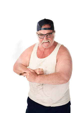 redneck: Angry large man in tee shirt on white background