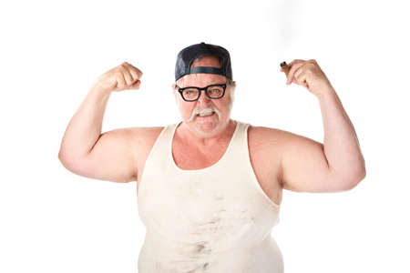 Flexing large man in tee shirt on white background