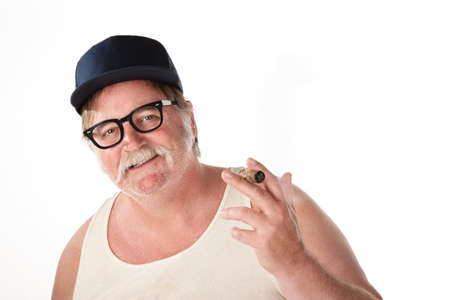Big man with baseball cap and cigar on white background Imagens