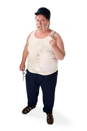 fuming: Angry big man in tee shirt with cigar and baseball cap Stock Photo