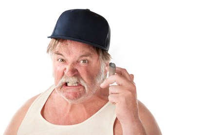 wife beater: Angry big man in tee shirt with cigar and baseball cap Stock Photo