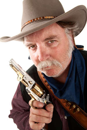 lawman: Cowboy on white background with pistol Stock Photo