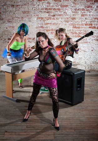 Young all girl punk rock band trio photo