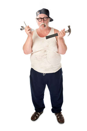 Fat man in tee shirt with multiple tools Stock Photo