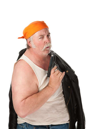 wife beater: Biker with big pistol on white background Stock Photo