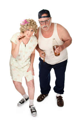 trashy: Curious older couple with poor wardrobe and cigars