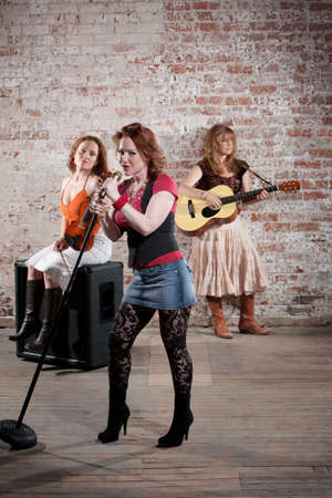 All girl band performing in stylish clothing  photo