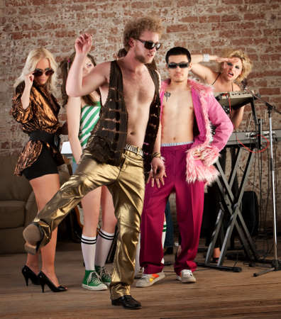 pathetic: Funny dancing at a 1970s Disco Music Party