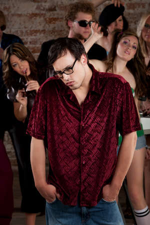 peer pressure: Nerdy loner at a 1970s Disco Music Party