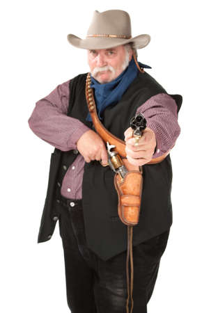 holdup: Big cowboy pointing pistol on white background