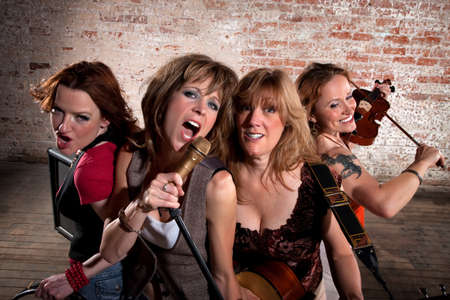 Stylish all girl pop or country band photo