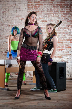 Young all girl punk rock band performers