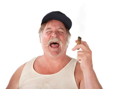 redneck: Big man with cigar and hat laughing loudly
