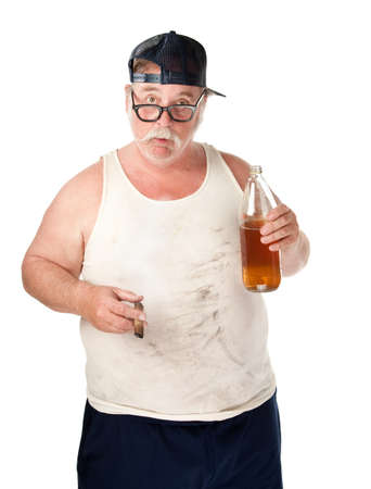 redneck: Fat man with drooping glasses a beer and cigar Stock Photo