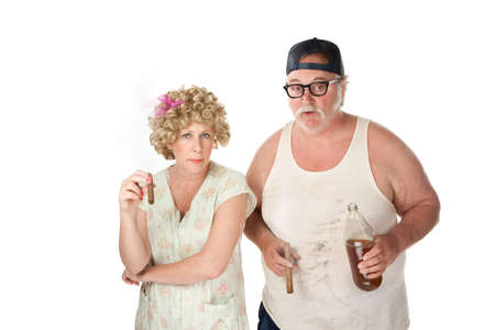 trashy: Homely couple with cigars and beer on white background