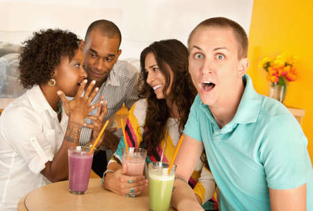 Two couples at a cafe drinking frozen beverages. Horizontal shot. Stock Photo - 7214400