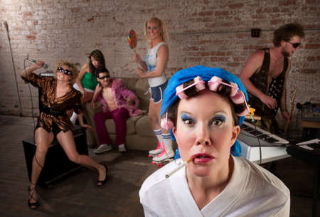 Angry lady in bathrobe crashing a 1970s Disco Music Party