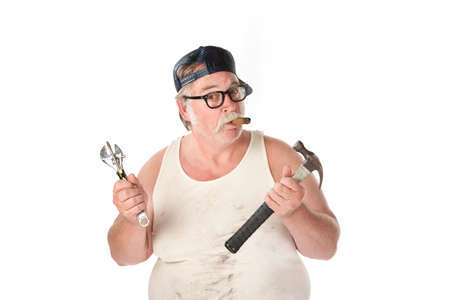 unskilled: Fat man in tee shirt with multiple tools Stock Photo