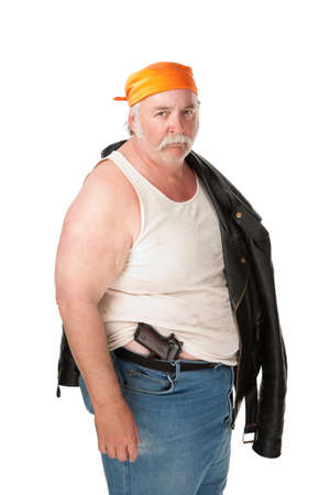 hoodlum: Fat hoodlum with pistol and orange bandana