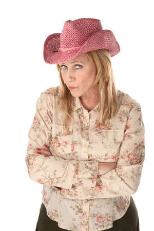 pink hat: Cowgirl with pink hat on white background