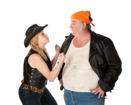 Biker couple engaged in a seus argument Stock Photo - 7244335