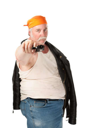 Fat hoodlum with orange bandana pointing a pistol photo