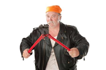 hoodlum: Fat hoodlum holding open large bolt cutters Stock Photo