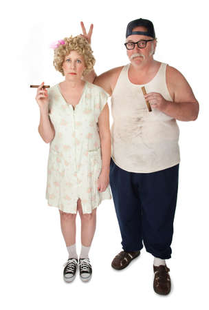 unsuspecting: Homely couple on white background
