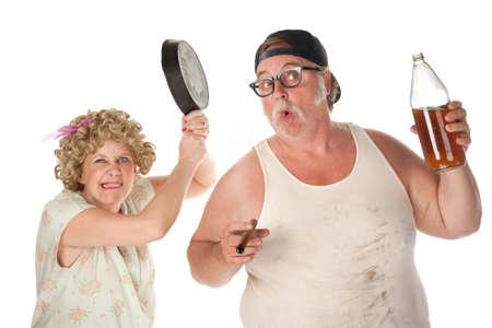unsuspecting: Woman readies a pan to drunken husbands head