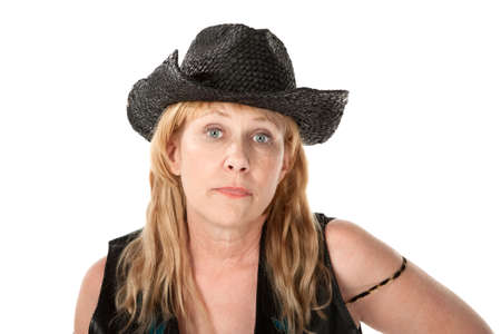 indifferent: Indifferent middle-aged woman with black cowboy hat
