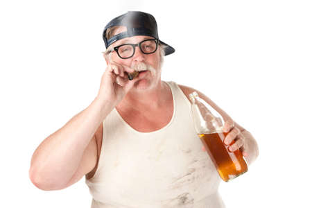 Fat man with smoking a cigar and holding a 40 oz beer photo