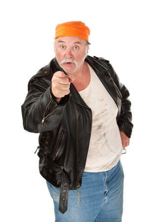 enraged: Angry biker gang member with leather jacket Stock Photo