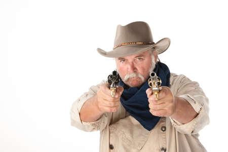holdup: Big cowboy pointing pistols on white background