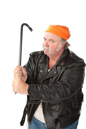 burgler: Fat hoodlum with a mean face gripping a crow bar