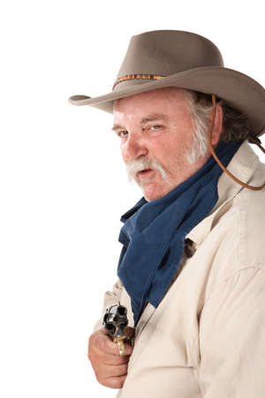 hustler: Big tough cowboy with pistol on white background Stock Photo