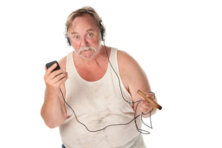 Sloppy looking man with cigar and mp3 player photo