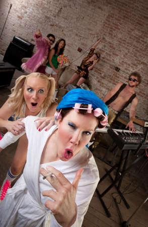 neighbor: Wild neighbor acting foolishly with young partygoers