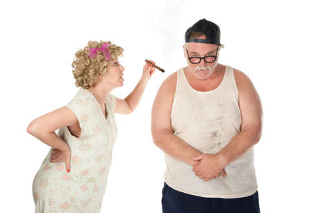 nagging: Hillbilly housewife breating her husband