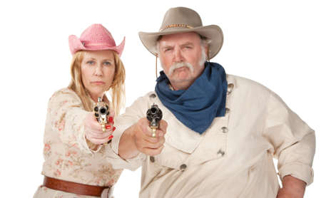 stickup: Gunslingers western wear pointing pistols and laughing