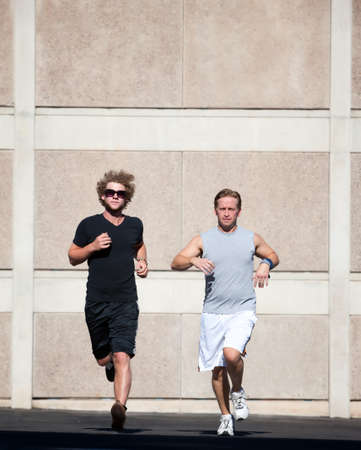 Two male friends practice for race photo