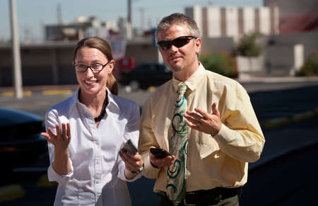 sidewalk talk: Couple is amazed at what they see.